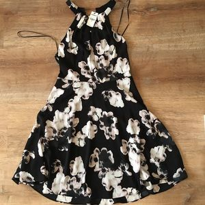 Black with pink flowers formal dress